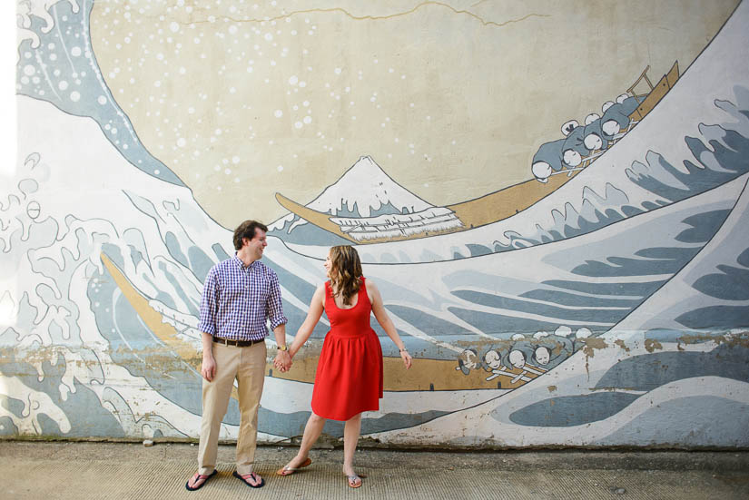 engagement photos with georgetown painting mural