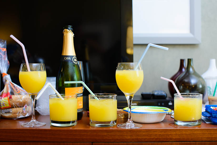 mimosas for the bridesmaids before the wedding